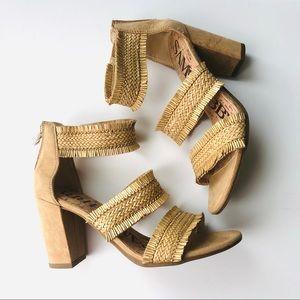Sam & Libby Strappy Raffia Block Heel Sandal